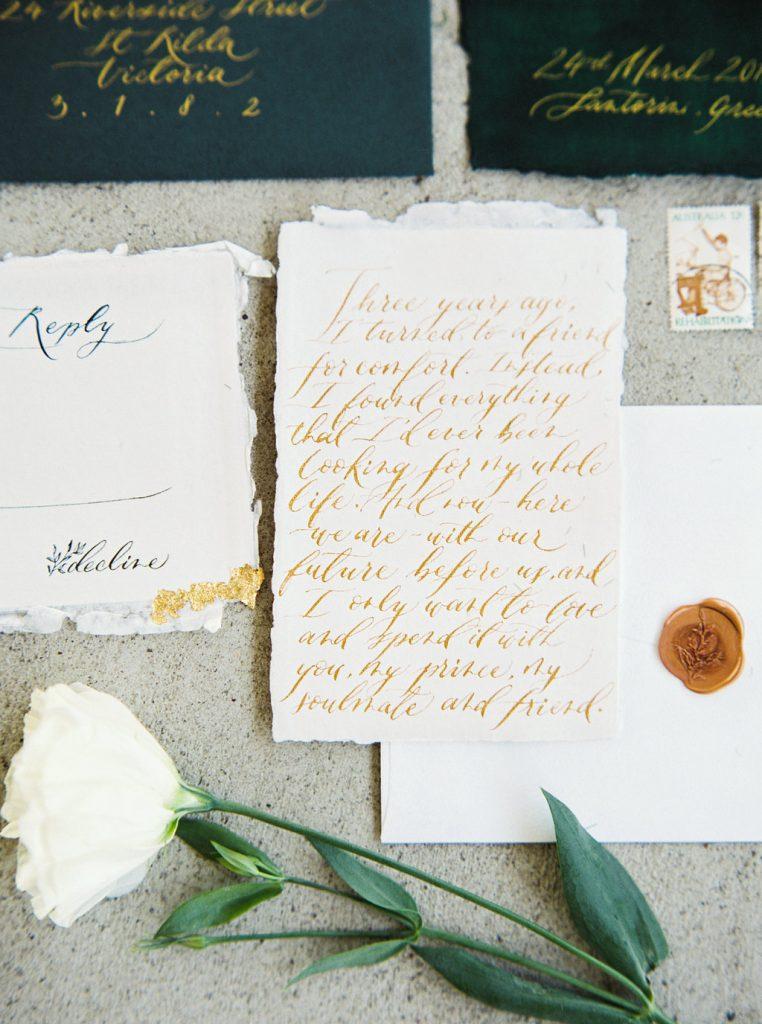 Calligraphy wedding invitations on handmade paper