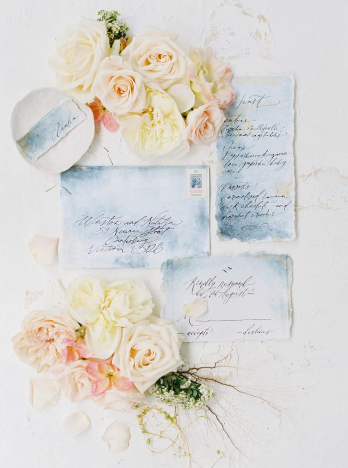 Hawaii inspired wedding invitations on handmade paper