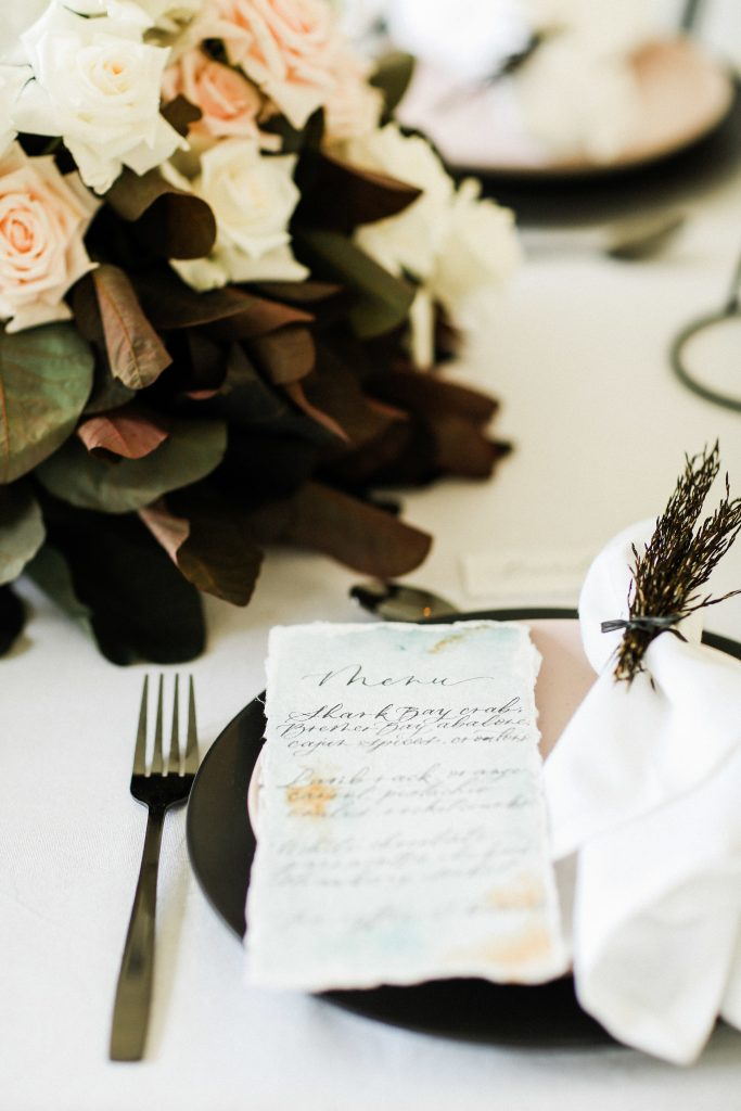 Wedding menu on handmade paper