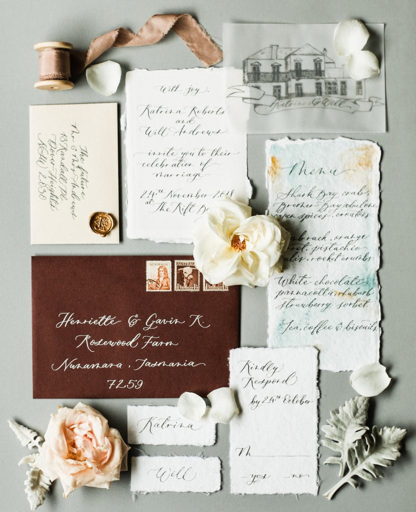 Vintage inspired wedding invitation suite on handmade paper