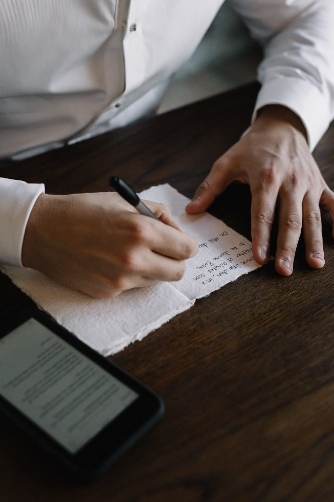 Wedding vow book in handmade paper