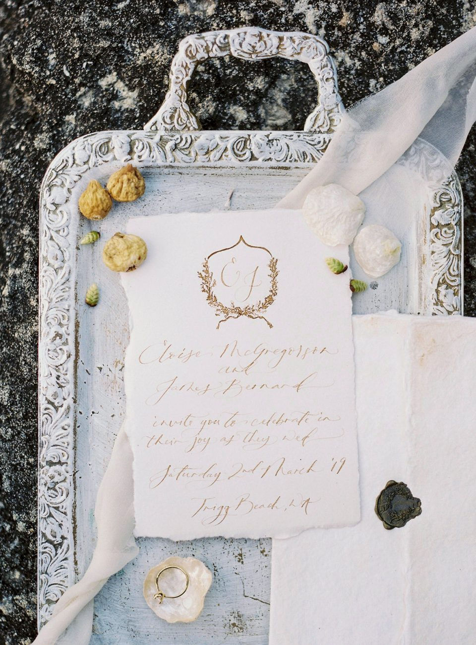 Fine art wedding invitation set on handmade paper