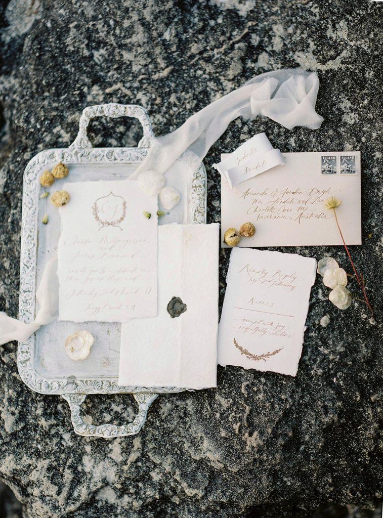 Fine art wedding invitation set on handmade paper