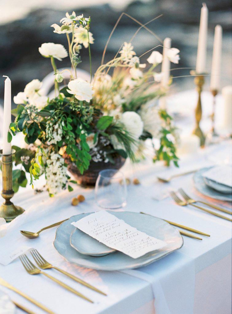 Dinner menu on elegant table setting